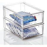 mDesign boite de rangement avec tiroir – boite de rangement plastique pour les chaussures – bac de rangement empilable pour a