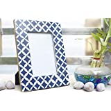 Handcrafted Wooden Table Photo Frame with Blue and White Geometrical Pattern for 4 by 6 inch Photo Size by House of Sajja