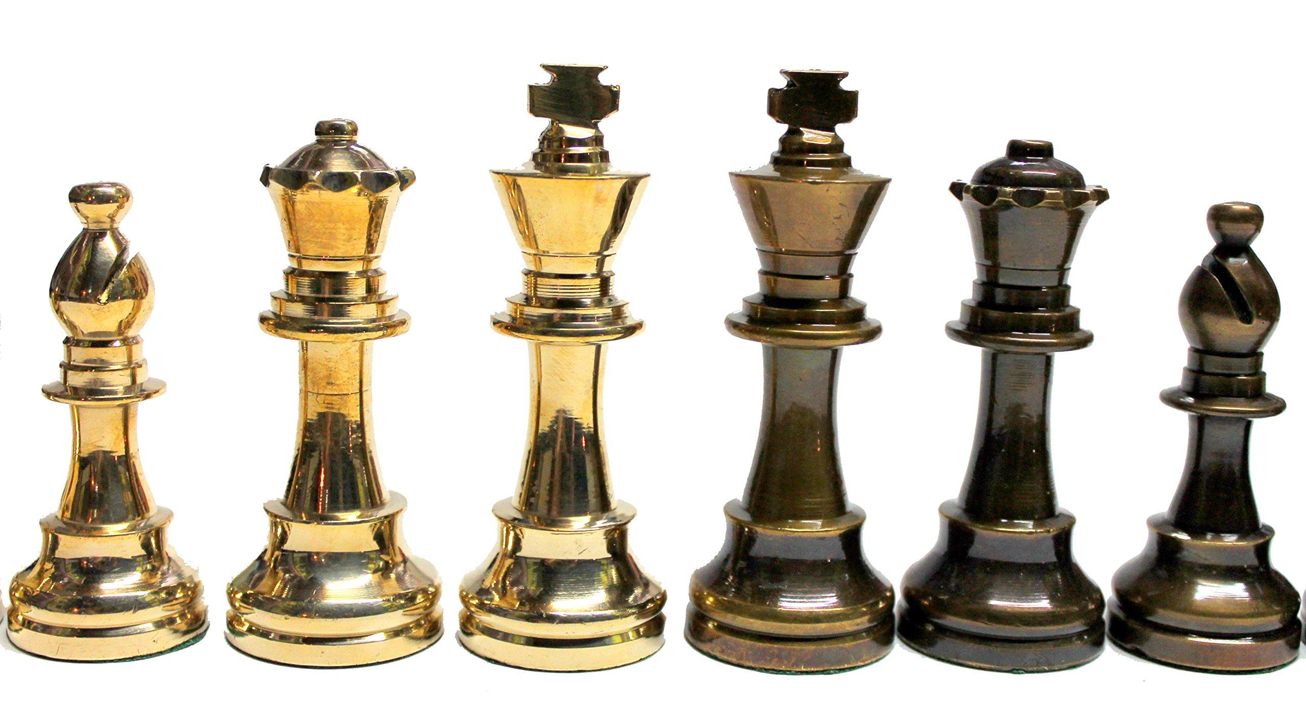 StonKraft-Collector-Edition-Messing-Holz-Schachfiguren-Die-Bauern-Chessmen-Mnzen