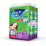 Fine Baby Double Lock, Size 6, Junior, 16+ kg, Two Mega Packs, 132 Diapers