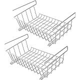 Ensemble de 2 paniers de rangement sous tablette | Étagères de rangement en fil métallique | Stockage de bureau | Organisateu
