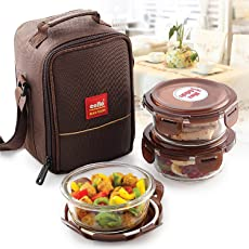 Cello Glass Lunch Box Set with Bag, 350ml, Set of 3, Clear