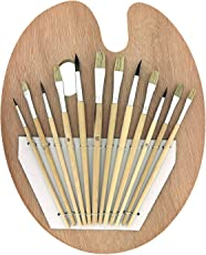 Kurtzy Acrylic Artist Paint Brush 12 Pcs for Face Oil Body Nail Art Drawing Coloring with Soft Bristles & Pallet