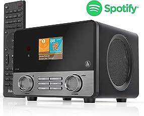 Hama IR110MS Internetradio (Spotify, WLAN, USB, Multiroom, 30 Favoritenplätze, beleuchtetes 2,6 Zoll Farbdisplay, integr. Radio-Wecker, mit Fernbedienung, gratis Undok Radio-App) schwarz