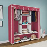 Maison & Cuisine® 6+2 Layer Fancy and Portable Foldable Collapsible Closet/Cabinet (Need to Be Assembled) (88130) (Wine Red)