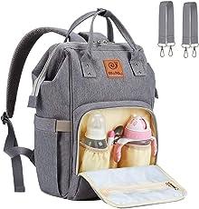 Baby Wickeltasche Reise Rucksack, Multifunktions Grosse Kapazität Babytasche, Wasserdicht Stoffe, Passform für Kinderwage, Einzigartig Tragbar Handtasche Veranstalter WoNiu (Grau)