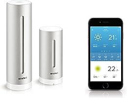 Netatmo Station Météo Intérieur Extérieur Connectée Wifi pour Smartphone - Capteur Sans fil - Thermomètre, Hygromètre, Baromètre, Sonomètre, Qualité de l'air - Compatible avec Amazon Alexa