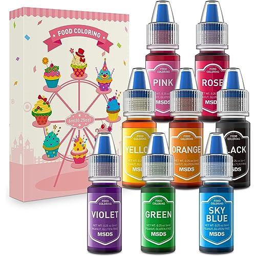 Colorante Alimentare liquido 8x6ML Coloranti alimentari Concentrati per Cuocere Decorare Glassare e Cucinare