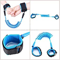 Jeval Anii Safety Security Spiral Coil Elastic Harness Leash Anti Lost Wrist Cuff Link Traction Rope Strap for Toddler Baby Kids (1 PCS)