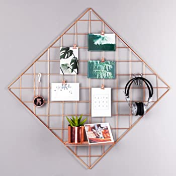 """Grid Photograph Wall Rose Gold Photo Hanging Display Artwork Prints Wall Frame Decoration Diamond Grid Panel for Room and Office/Size 23.6""""x23.6""""/Rose Gold/Copper"""