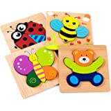 Wooden Toddlers Puzzles, KOLADEK Educational Toys for Kids 4 Puzzles - Early Learning Gift for Boys Girls Aged 1 and Up