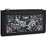 Lois - Cartera Billetero Tarjetero y Monedero para Mujer con Cremallera y Compartimentos para Tarjetas Documentos. Lona Estam