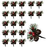 Wenlai 20 Pezzi Plettri di Pino Artificiali, Berry Pinecones Aghi di Pino, Bastoncini Artificiali Bacche di Natale, Rami di P