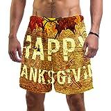 Anmarco Happy Thanksgiving with Maple Leaves - Traje de baño de secado rápido para hombre con bolsillo