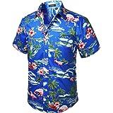 HISDERN Hombre Camisas Hawaianas Funky de Manga Corta Bolsillo Delantero Vacaciones de Verano Aloha Impreso Playa Camisa Info