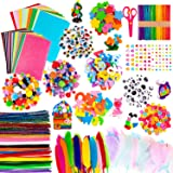 Pipe Cleaners Chenille Stem Pompoms /& Wiggle Eyes Craft DIY Art Supplies Glitter Pipe Cleaners Chenille Stem TENSUN 600 Pieces Pipe Cleaners Craft Set