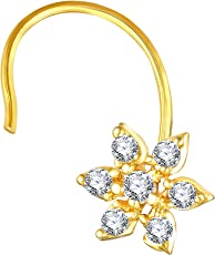 VK Jewels Floral Gold Plated Alloy CZ American Diamond Nose Ring for Women (VKNR1042G)