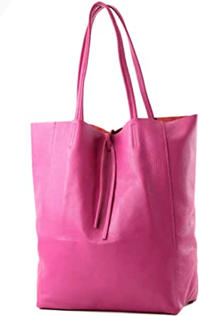 modamoda de - T163 - Ital. Shopper Large mit Innentasche aus Leder, Farbe:Pink