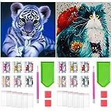 Paquete de 2 Pintura de Diamantes Animales, Pintura de Diamantes 5D Tigre y Gato DIY Pintura Brillante de Diamante por Número