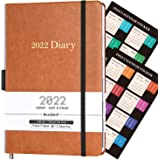 BooQool Diary 2022 - Day to Page Diary, from January 2022 to December 2022, Productivity A5 Daily Planner with Monthly Tabs,