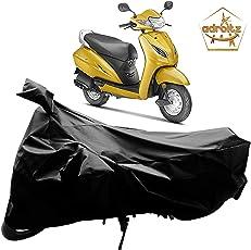 Adroitz Bike Body Cover with Mirror Pocket in Matte for Honda Activa 5G (Plain Black, AZBBC_PLBK_T1_S_216)