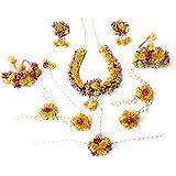Balika Vadhu Flower Jewellery Designer Yellow Pink Jwellery Set for Women & Girls (Mehandi/Haldi /Bridal/Baby Shower/Marriage