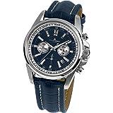 Jacques Legans Liverpool 1-1117 Montre pour homme avec bracelet en cuir massif et chronographe en acier inoxydable