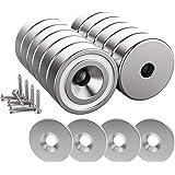 Magnetpro 12 stuks magneet 10 KG Force 20 x 7 mm met verzonken gat en stalen capsule, potmagneten met schroeven en 12 stalen