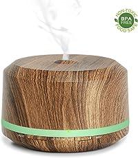 Aroma Diffuser Holzmaserung, 450ml großer Ultraschall Aromatherapie Luftbefeuchter mit 2 Nebeleinstellungen, 3 Zeiteinstellungen, 8 Farblichtern, automatischer Abschaltung bei zu niedrigem Wasserstand für besseren Schlaf, Home Office und Yoga. -Doukedge (Dark Wood Grain)