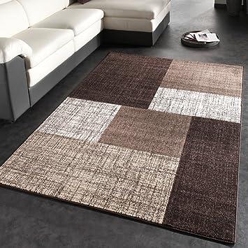 Teppich braun beige  Designer Teppich Modern Kariert Kurzflor Teppich Design Meliert In ...