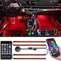 Tavaler Auto LED Innenbeleuchtung 4pcs 72 LED Ambientebeleuchtung Auto Lichtleiste USB Anschluss Innenraumbeleuchtung…