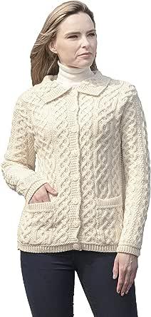 Aran Crafts Cardigan lavorato a maglia con bottoni (100% lana merino)