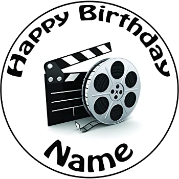 Personalised Movie Film Reel And Clapper Board Cake Topper - A Pre-cut  Round 8