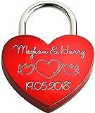 Liebesschloss In Herzform ♥ | Personalisiertes Herzschloss Mit Beidseitiger Gravur Als Liebesgeschenk | Rot