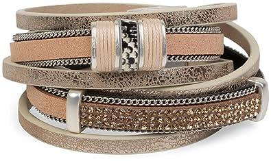Lederarmband für damen  styleBREAKER Vintage Wickelarmband mit Strass, Gliederkette und ...