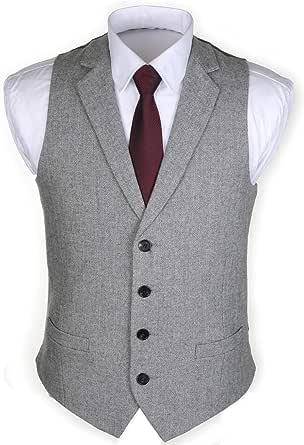 Ruth&Boaz 2Pockets 4Buttons Wool Herringbone/Tweed Tailored Collar Suit Waistcoat