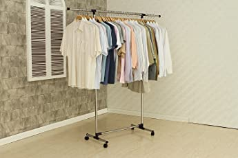 Youlite Stainless Steel Single Pole Telescopic Movable Portable Clothes Rack(Silver)