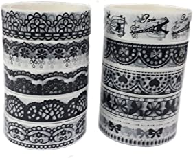PINDIA Decorative Tape Lace Roll All Purpose DIY Duct Tape,1.8cm, Standard(Blackand White)-Set of 10pc