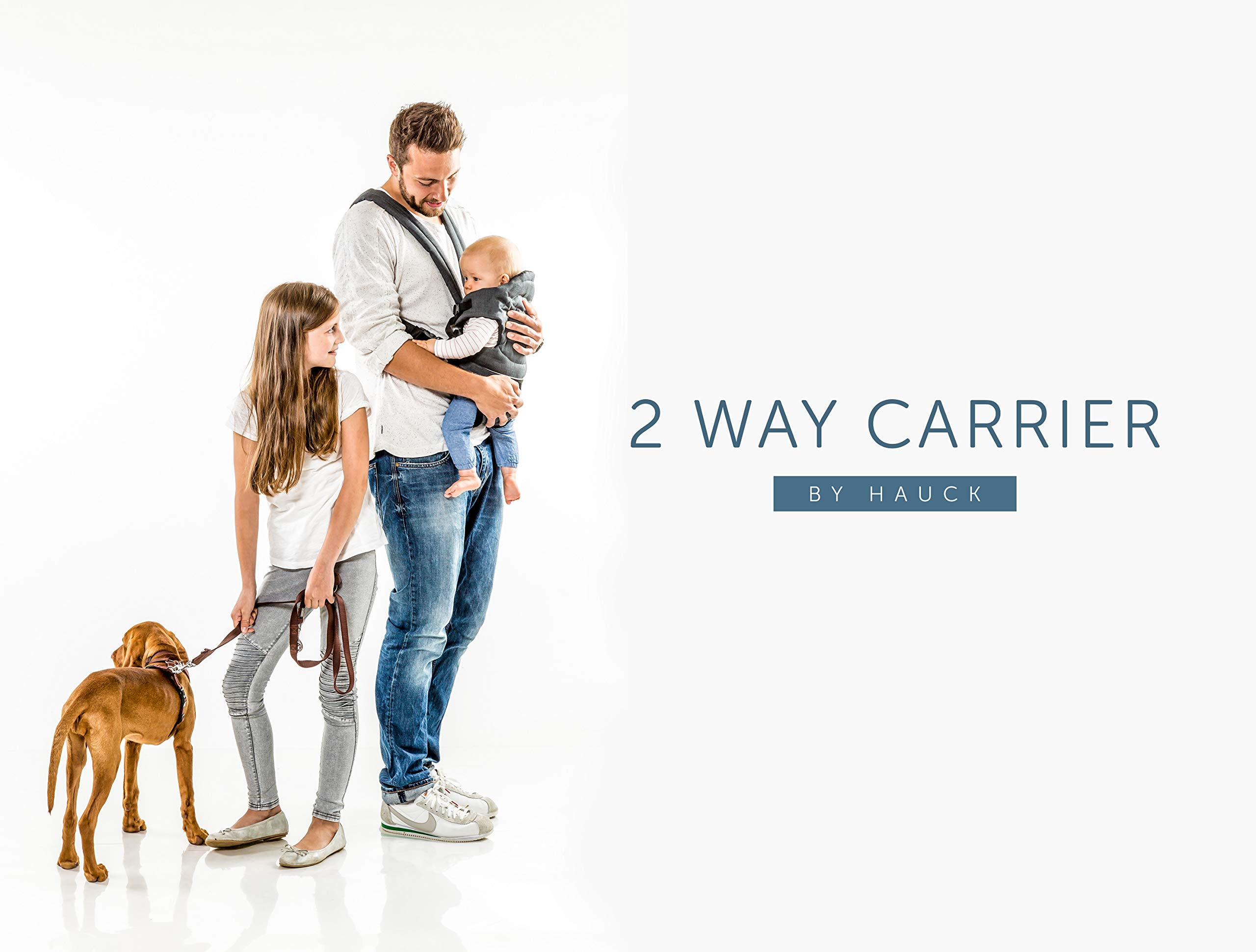 Hauck 2 Way Carrier, Ergonomic Baby Carrier Newborn to Toddler from Birth up to 12 kg, Softly Padded, Two Carrying Possibilities, High Level of Carrying Comfort, Melange Charcoal Hauck 2 carrying possibilities on the front Reinforced head and back area Safe and ergonomic baby carrier 10