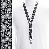 Rolseley Cordon tour de cou pour porte-badges avec clip en métal 1 cercle noir.