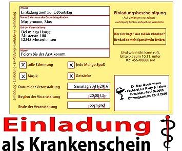 Lustig Witzig Einladungskarten Geburtstag Krankenschein Krankschreibung    60 Stück