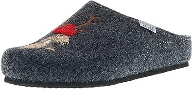 Tofee - Pantofole da uomo in feltro di lana naturale (cervo), antracite