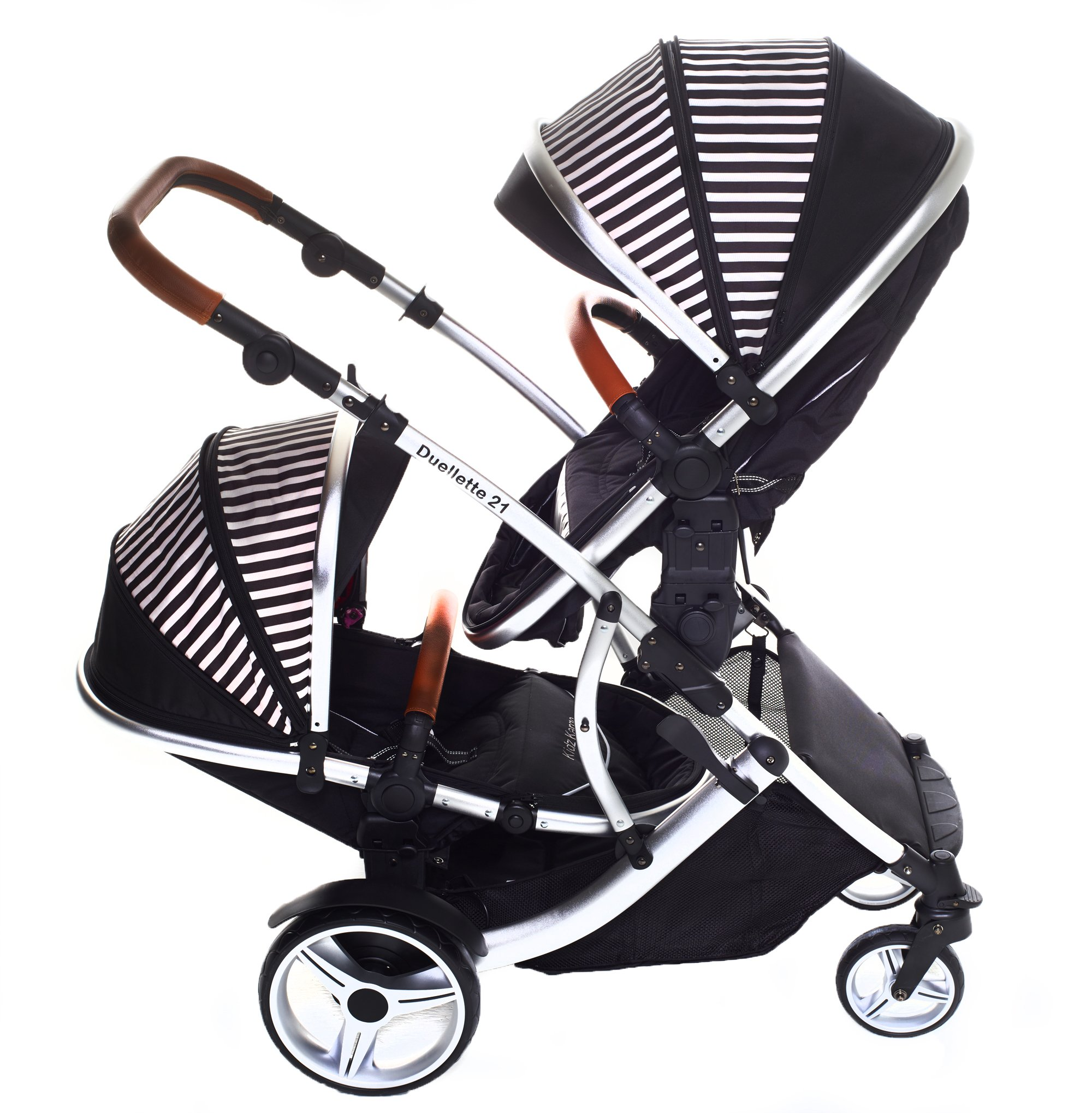 Kids Kargo Duellette 21 Bs Twin Double Pushchair Stroller Buggy with Tan Handle Pack (Oxford Stripe) Kids Kargo Fully safety tested Various seat positions. Both seats can face mum (ideal for twins) Suitability Newborn Twins (if used with car seats) or Newborn/toddler. Accommodates 1 or 2 car seats 3