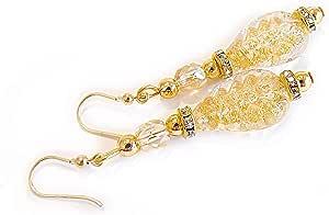 VENEZIA CLASSICA - Orecchini da Donna con perle in Vetro di Murano Originale, Collezione Ginger, con foglia in oro 24kt, Made in Italy certificato