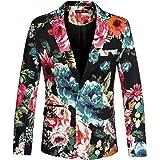 Sourcingmap Men's Suit Blazer Slim Fit Floral Printed One Button Prom Jacket Sport Coat