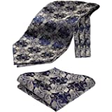 HISDERN Set fazzoletto da taschino e fazzoletto jacquard in fazzoletto floreale Paisley floreale