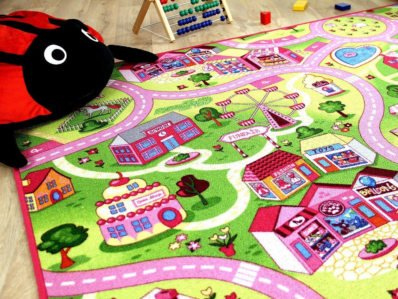 Amazon.de: Kinder Spiel Teppich Girls Rosa Village in 24 Größen