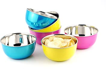 LIEFDE Microwave Safe Stainless Steel Bowl, 16cm (Multicolour) - Set of 6