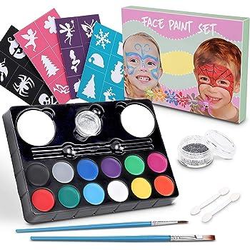 Lenbest Colori Trucco Viso, Trucco Ultimate Party Pack con 12 colori di pittura, 1 glitter, 2 spazzole, 2 spugne, 2 bastoncini ombretto, 4 adesivi - per Halloween, Christmas e Party