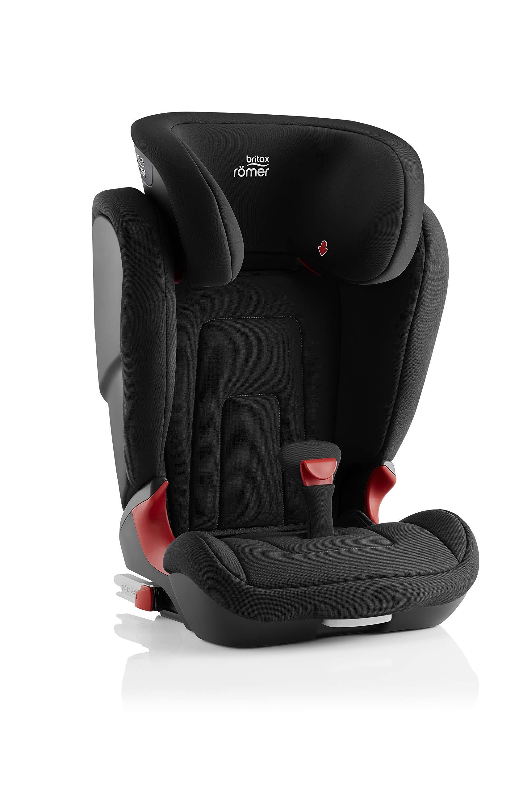 Britax Römer car seat 15-36 kg, KIDFIX 2 R Isofix group 2/3, Cosmos Black Britax Römer Secure guard - helps to protect your child's delicate abdominal area by adding an extra - a 4th - contact point to the 3-point seat belt. High back booster - protects your child in 3 ways: provides head to hip protection; belt guides provide correct positioning of the seat belt and the padded headrest provides safety and comfort. Easy adjustable v-shaped backrest - designed to give optimum support to your growing child, the v-shaped backrest provides more space for their back and shoulders. 3